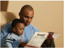 Caregiver reading to Child
